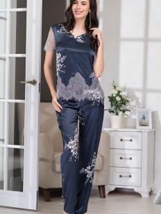 Шелковая женская брючная пижама с кружевом