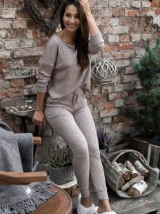 Брючная женская пижама из вискозы в рубчик серо-коричневая