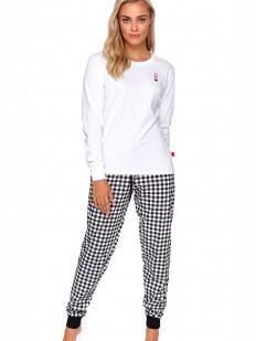 Теплая хлопковая пижама с брюками в клетку и белой кофтой с длинным рукавом