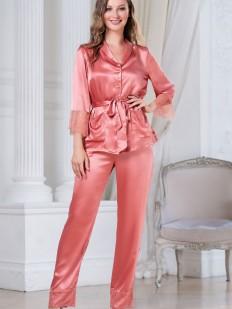 Шелковая женская пижама: брюки и элегантный жакет с топом в коралловом цвете