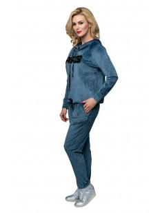 Женский домашний велюровый костюм с пайетками и брюками в голубом цвете