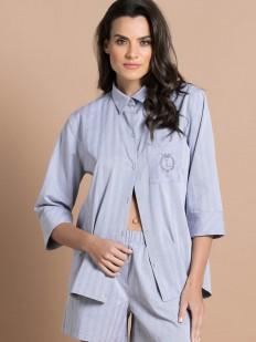 Хлопковая женская пижама с принтованной рубашкой и шортами