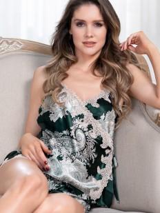 Шелковая принтованная женская пижама с шортами и топом на лето