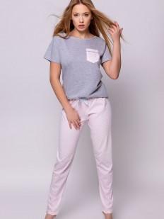 Женская хлопковая пижама с розовыми штанами и футболкой