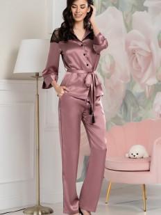Шелковая женская пижама с брюками розовая