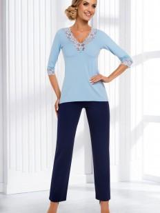 Женская трикотажная пижама с брюками из вискозы голубая