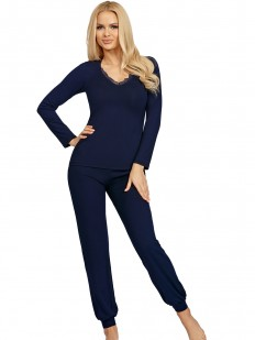 Женская синяя трикотажная пижама из вискозы с брюками и кофтой