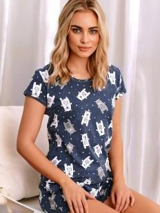 Летняя женская пижама: шорты и футболка с принтом мишки