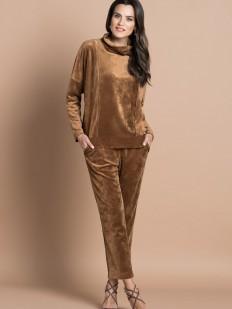 Женский велюровый брючный домашний костюм цвета охра
