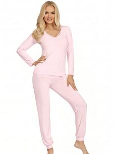 Женская розовая трикотажная пижама из вискозы с брюками и кофтой