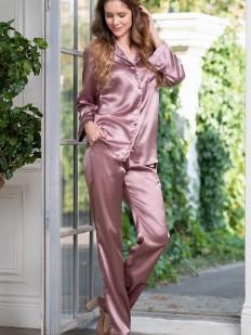Розовый пижамный женский комплект с брюками и рубашкой на пуговицах