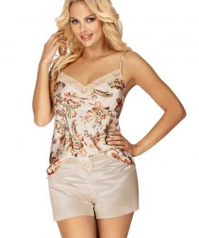 Бежевая атласная женская пижама с шортами и принтованный топом на лето