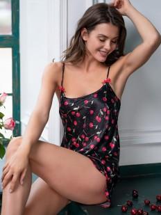 Атласная женская летняя пижама топ и шорты с вишенками