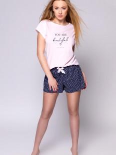 Женская летняя пижама из хлопка с шортами и сердечками