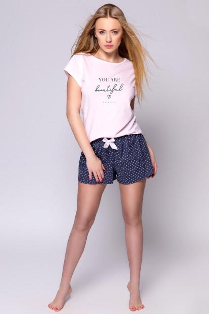 Женская летняя хлопковая пижама с сердечками Sensis JACQUELINE