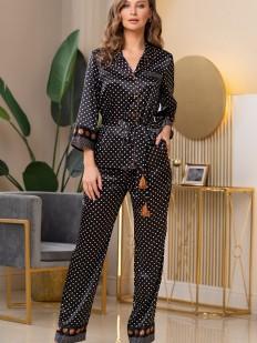 Брючная женская пижама с атласным жакетом на пуговицах