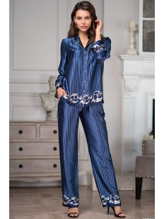 Женская атласная пижама с рубашкой и брюками в полоску Mia-Amore Barocco