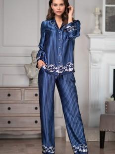 Женская атласная пижама с рубашкой и брюками в полоску