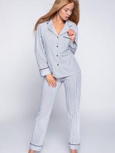 Хлопковая женская пижама в полоску с рубашкой и брюками