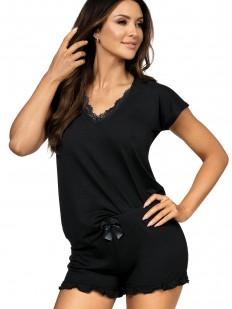 Женская трикотажная летняя пижама с шортами из вискозы черная