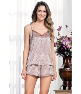 Атласный женский пижамный комплект с принтованными шортами и топом на лето