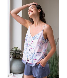 Летняя атласная женская пижама с шортами и розовым цветочным топом