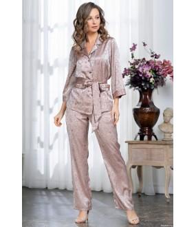 Домашний женский комплект с принтованными атласными брюками и жакетом на пуговицах