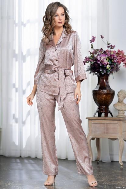 Домашний женский комплект с атласными брюками и жакетом Mia-Amore MARGARET 8976 - фото 1
