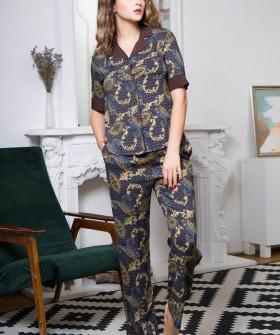 Женская трикотажная пижама из принтованной вискозы с брюками и рубашкой
