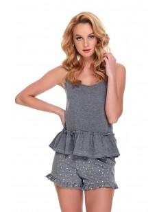 Женская летняя серая пижама с шортами в горошек и топом с оборкой