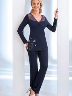 Женская трикотажная пижама с брюками из вискозы синяя