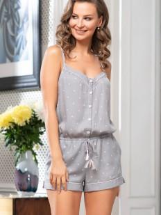 Трикотажная летняя пижама комбинезон на пуговицах с шортами