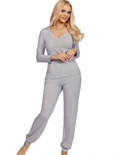 Женская серая трикотажная пижама из вискозы с брюками и кофтой