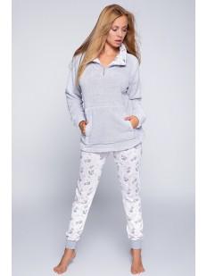 Теплая женская велюровая пижама с плюшевой кофтой и штанами