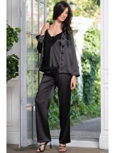 Черный пижамный женский комплект тройка с брюками
