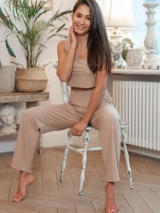 Бежевый домашний женский костюм с топом и брюками