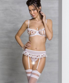 Сексуальный белый комплект белья с доступом и поясом для чулок