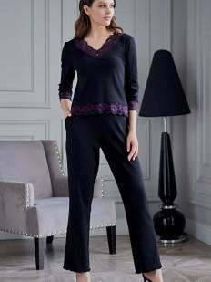 Женская трикотажная пижама с брюками из вискозы с кружевом