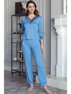 Женская пижама с брюками и кофтой из вискозы с кружевными вставками Mia-Amore Botticelli