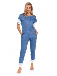 Женская джинсовая пижама с кружевным декором: футболка и штаны