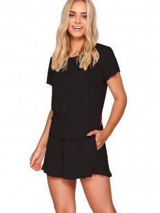 Черная женская летняя пижама: футболка и шорты с рюшами