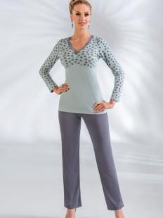 Женская трикотажная пижама с брюками из вискозы мятная в горошек