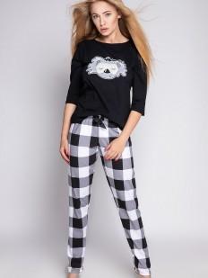 Хлопковая женская пижама с брюками в крупную черно-белую клетку и принтом коала