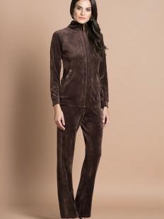 Женский велюровый коричневый брючный костюм с курточкой на молнии