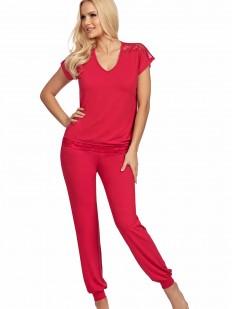 Малиновая трикотажная пижама из вискозы с брюками и футболкой