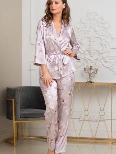 Домашний женский комплект из шелка: брюки, топ и жакет с цветочным принтом