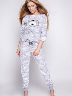 Серая брючная женская пижама из хлопка цвета милитари с принтом коала