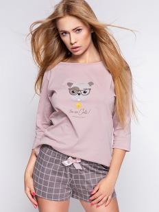 Розовая женская пижама хб с шортами мокко в клетку и принтом собачки