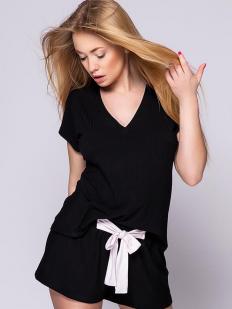 Женская летняя трикотажная пижама с шортами из черной вискозы