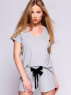Женская летняя трикотажная пижама с шортами из серой вискозы